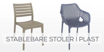 Stablebare stoler i plast